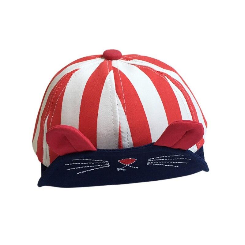 Spring Summer Cat Stripe Cotton Baby Beanie For Boys Girls Sun Hat Children Baby Hat Accessories New