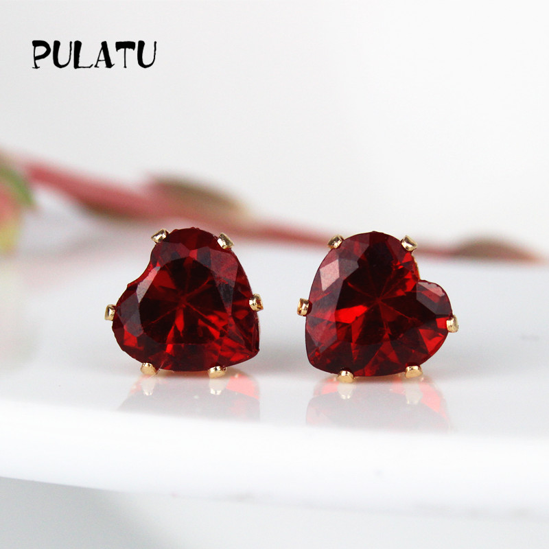 cubic zirconia double round cherry cut screwback yellow earrings stud green color accent gold red