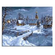 RIHE Snow Forest Painting By Numbers Diy Oil On Canvascuadros Decoracion Acrylic Paint Home Decor Wall Art Living Room