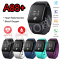 A88 + monitor de oxígeno arterial smartband bt4.0 frecuencia cardíaca podómetro inteligente pulsera sport band gimnasio rastreador pulsera para iphone 7