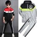 Do Bebê Do algodão Meninos Track Suit Vestuário Desportivo Define Crianças Outerwear Roupa Dos Miúdos Conjuntos Para 5-14 Anos de Idade