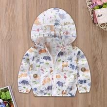 Spring and Summer New Casual Rainy Cartoon Elephant Giraffe Hippo Sun Hooded Zipper Jacket Coat Baby Boy Girl