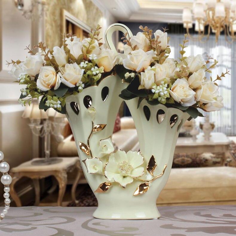 European Ceramic Vase pure handmade basket Mediterranean style gilt decoration crafts hollow hollow table
