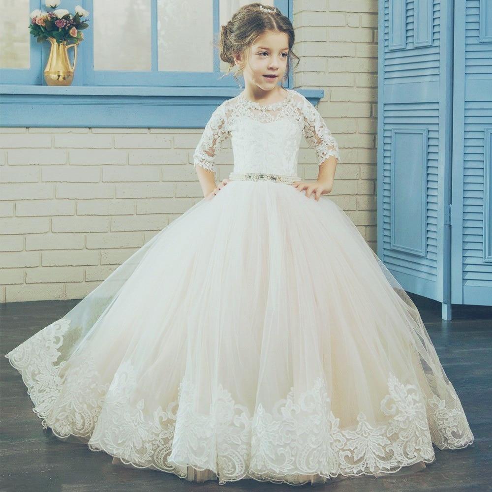 Kids Half Sleeve Lace Princess   Girl's     Dresses   Beading Sash Lolita First Communion   Flower     Girl     Dresses   For Wedding Birthday