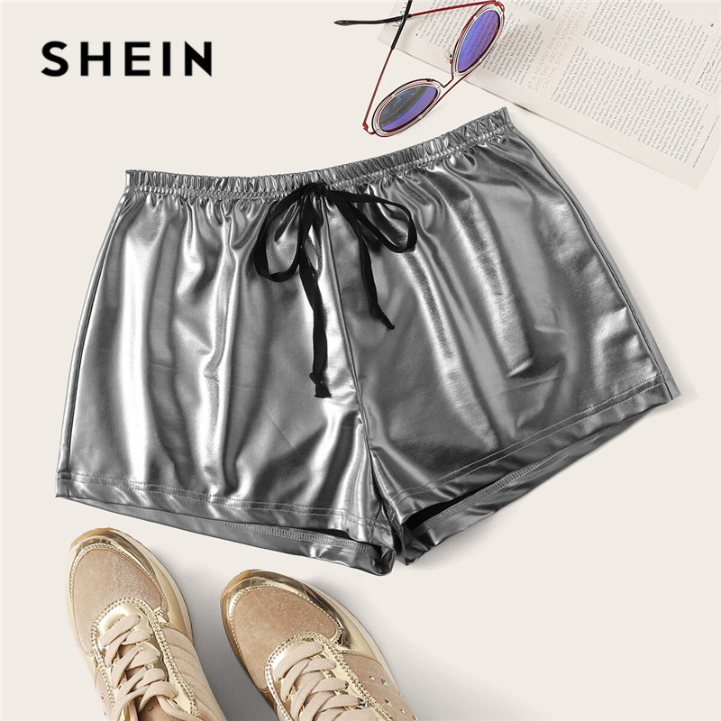 SHEIN Solid Drawstring Waist PU Shorts Women Clothes 2019 Ladies Highstreet Glamorous Silver Elastic Waist Summer Shorts 1