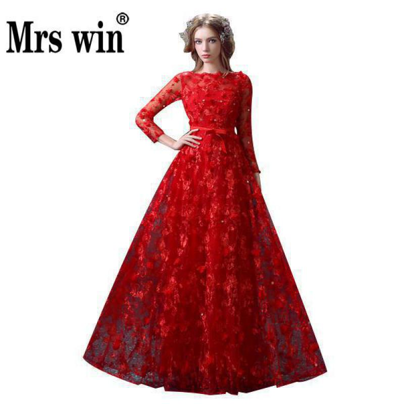 2018 Bride Lace Flower Long Sleeved Prom Dress Robe De Soiree Luxury Red Long Evening Dress Banquet Elegant Princess Party Gowns