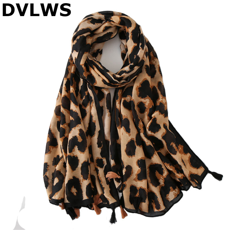 New Classic Korea Style Leopard Winter Scarf with Tassels  Dual-use cotton and linen Scarf Female High Qualtiy