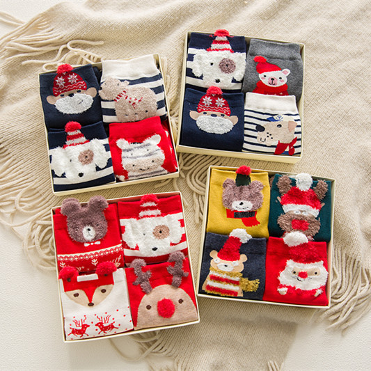 Caramella 2017 4pairs/box Cotton Meias Christmas Warm Cute 3
