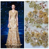 Hot popular 10colors 3D rose beaded sequins lace fabric for wedding dress stage clothing evening dress 130cm by yard