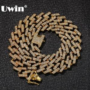 UWIN Chains Necklaces Prong Hiphop Jewelry Cuban Link Mens Rhinestones Mutil-Colored