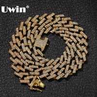 UWIN дропшиппинг модные кубические звенья цепи ожерелья 15 мм Разноцветные синий/черный Стразы хип-хоп ювелирные изделия мужские