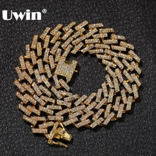 UWIN Drop חינם אופנה אייס חודים קובני קישור שרשרות שרשראות 15mm Mutil בצבע כחול/שחור Rhinestones Hiphop תכשיטי Mens