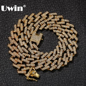 Image 1 - UWIN Drop Shipping Fashion Iced Prong Cuban Link Chains Necklaces 15mm Mutil Colored Blue/Black Rhinestones Hiphop Jewelry Mens
