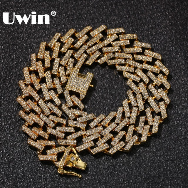 UWIN Drop Shipping Fashion Iced Prong Cuban Link Chains Necklaces 15mm Mutil Colored Blue/Black Rhinestones Hiphop Jewelry Mens