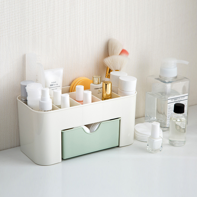 Yolala Plastic Cosmetic Storage Box with Small Drawer Multi-functional Jewelry Box Desk Sundries Storage Container Organizer