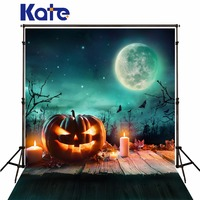 Kate Green Screen Halloween Photobooth Background 10ft With Moon For Photography Pumpkin Photo Background Wood Floor Backdrops