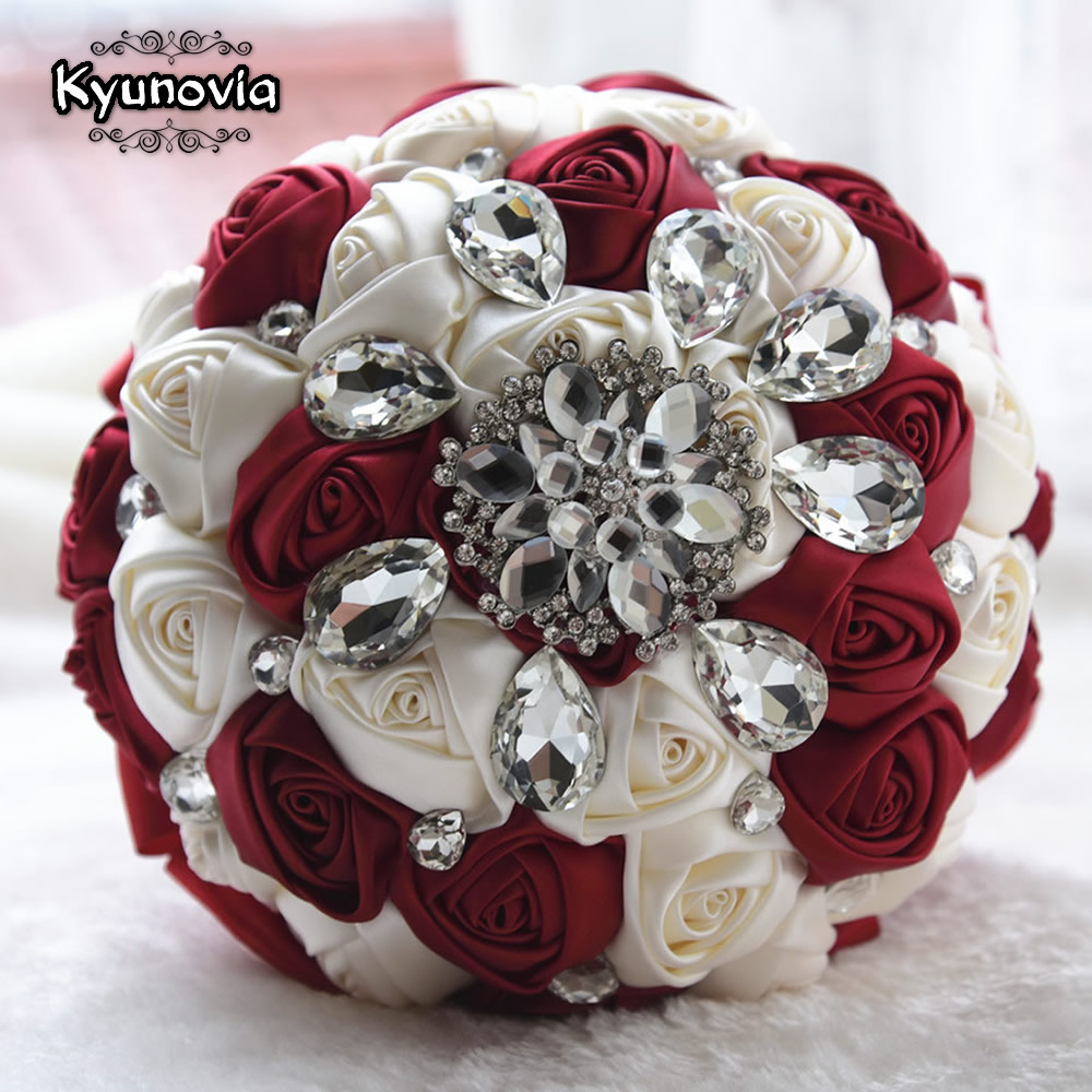 Kyunovia Rhinestones Wedding Bouquet Satin Wedding Flowers Crystal Bouquet Ivory Bridal Bouquet Custom Wedding Bouquet D72