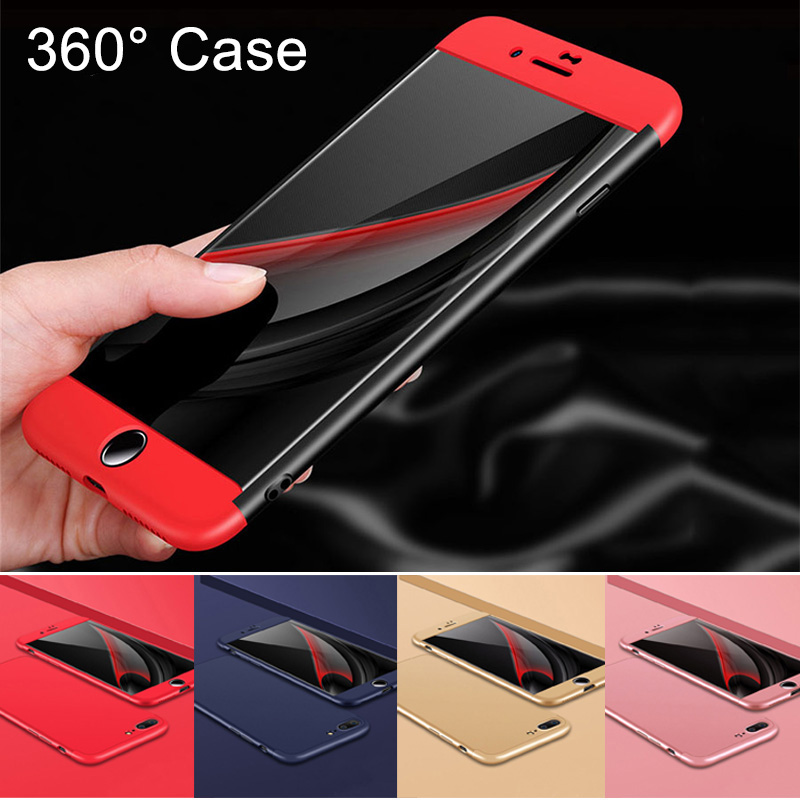 Galleria fotografica 3 IN 1 360 Degrees Full Body Hard PC Case for iphone 6 6s 7 8 Plus Ultra thin Hybrid Case capinhas + Tempered Glass protective