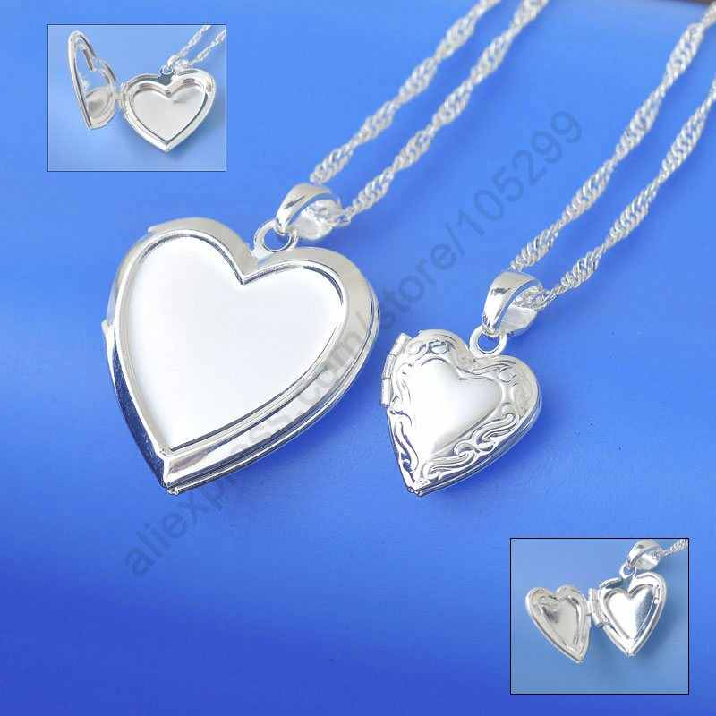 Wholesale Necklace Real Pure 925 Sterling Silver Jewelry Case Frame Small Heart & Big Heart Pendant Necklaces