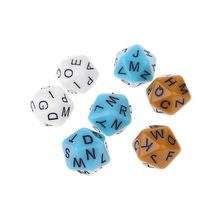 7pcs/set 20-Sided D20 English Alphabet Letters Dials Board Game Accessories For Kids Educational Toys