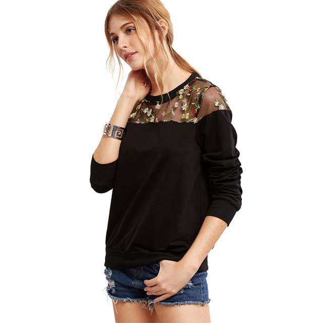 6e0a1e3b2f0e5 Oversized Gesticktes Embroidery Floral Blouse Women Sheer Top Mesh  Patchwork Shirts Long Sleeve Blouse Feminina Ladies