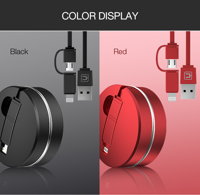 2-in-1 charging cable for iPhone Android & more - Retractable LIGHTNING/MICRO USB CABLE