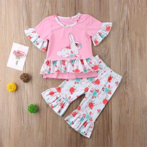 9ebc3f03dfa7b Online Shop Easter Clothes 2PCS Kids Baby Girl Bunny Tops Blouse Floral  Bell Bottoms Pants Leggings Outfits Set Clothes Summer