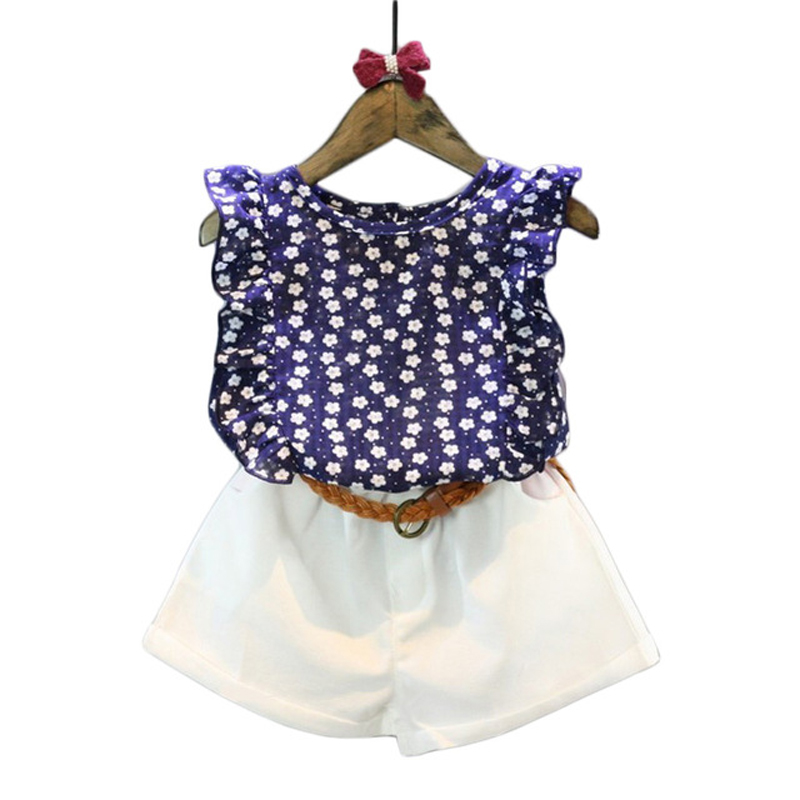 New Brand Girl Set Children Summer Casual Wear Floral Sleeveless T-shirt + Shorts Suit Cotton Clothing Girls Clothes