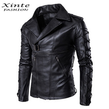 High Quality Soft PU Men Leather Jacket Outwear Zipper Drawstring Black Male Motorcycle Biker Coat M-5XL