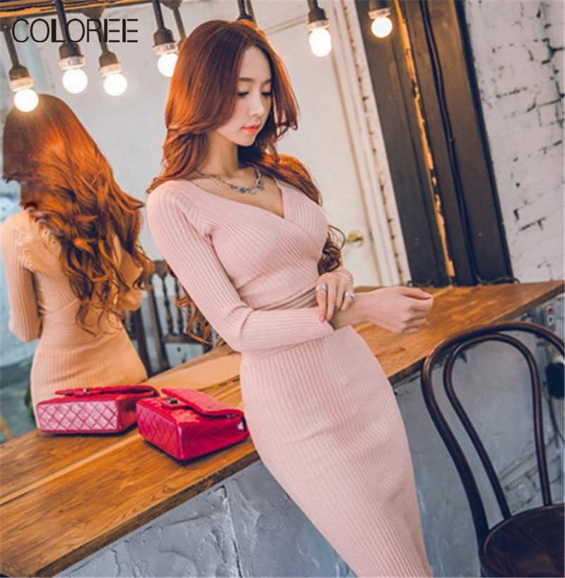 COLOREE Sweater Dress Womens 2018 Spring Autumn Elegant Knitted Warm Dress Long Sleeve Deep V Neck Sexy Bandage Pencil Dress