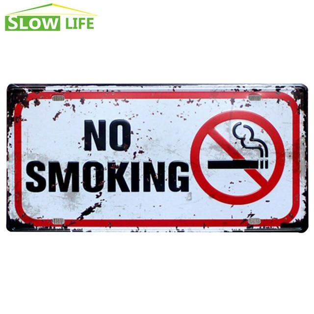 No Smoking Sign Car License Plate Vintage Home Decor Tin Sign Bar