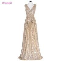 Champagne 2018 Billig Brautjungfer Kleider Unter 50 A-line Tiefem V-ausschnitt Pailletten Sparkle Backless Hochzeit Kleider
