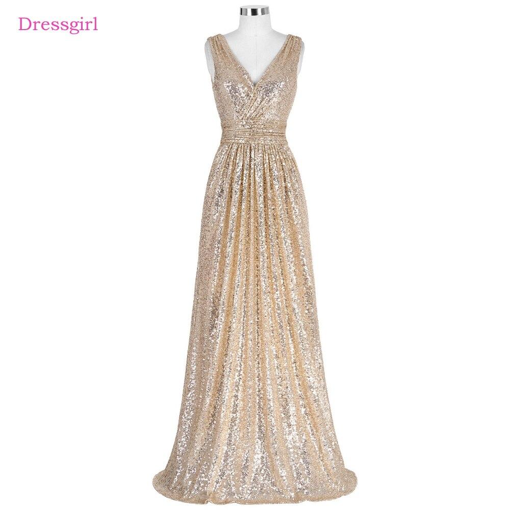 Champagne 2018 Cheap Bridesmaid Dresses Under 50 A-line Deep V-neck ...
