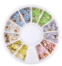 1 box Mix  Colorful Glitter Shiny 3D Sharp Arylic Diamond Studs Nail Art Rhinestones Gems Decorations DIY