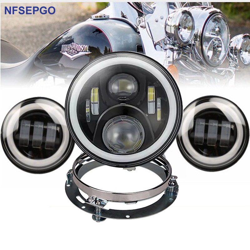 """7/"""" LED PROJECTION DAYMAKER HEADLIGHT HARLEY STREET ROAD KING ELECTRA GLIDE"""