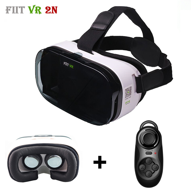 Update Fiit 2N Virtual Reality Smartphone 3D Glasses VR Headset Cardboard Leather Version Helmet vr box for 4-6' Mobile Phone
