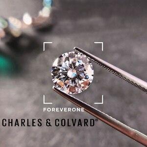 Image 2 - Piedra suelta Real Charles colgard moissanita con certificado Forever One VVS DEF 4,5mm 0.29CT, excelente corte de pruebas positivas