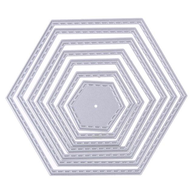 7 unids hexágono espiral metal Recortes de papel para scrapbook ...