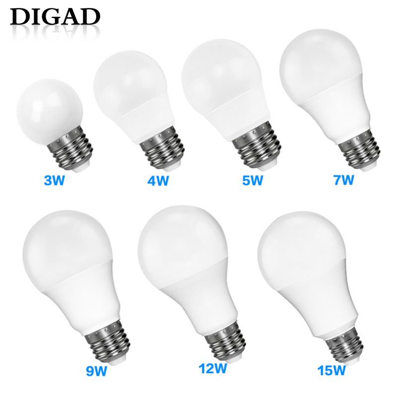 DIGAD LED E14 LED Lamp E27 LED Bulb AC 220V 230V 240V 18W 15W 12W 9W 6W 3W Lampada LED Spotlight Table Lamp Lamps Light съёмник шкивов набор kraft 13 предметов cr v kt 701019