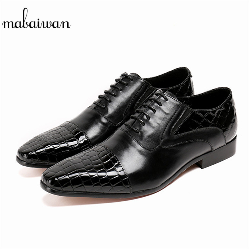 Mabaiwan Black Genuine Leather Dress Men Casual Shoes Lace Up Italy  Crocodile Emboss Business Wedding Flats bc60fcb2f44f