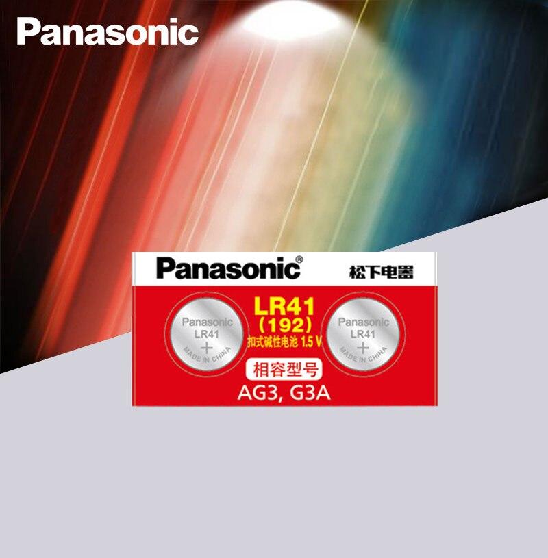 2pcs/lot LR41 Button Cell Batteries Panasonic 100% Original SR41 AG3 G3A L736 192 392A Zn/MnO2 1.5V Lithium Coin Batteries