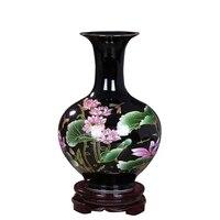 Classical Jingdezhen Ceramic Black Glaze Pastel Vase Ornaments Home Living Room Flower Vase Desktop Decoration Porcelain Vase