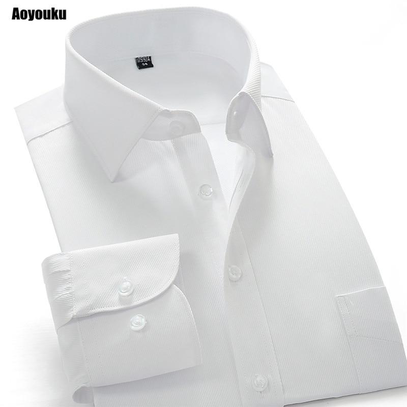 Aoyouku GXW10 10XL Plus Size 8XL White Shirt Slim Fit Men's Long Sleeve Business Shirts High Quality Big Size China Dress Shirts