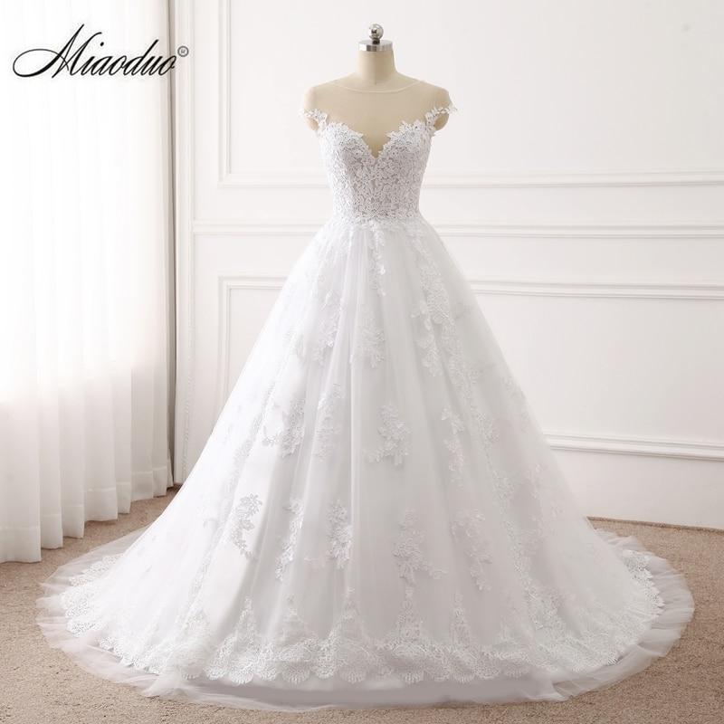 Miaoduo 2019 Ball Gown Wedding Dresses Lace Appliques Bridal Gowns Vestido De Novias casamento Princess trouwjurk