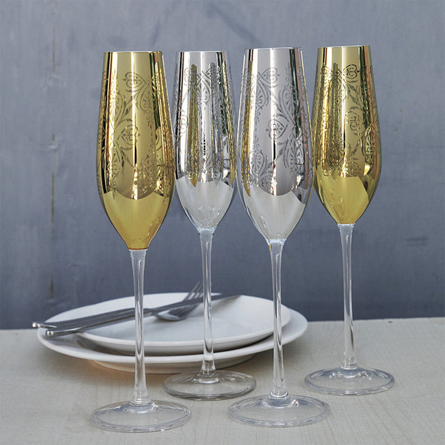Champagne Glass Wedding Wine Glasses Golden And Silver Carved Crystal Wine Cups Party For Wedding Champagne Flutes Wedding Gift