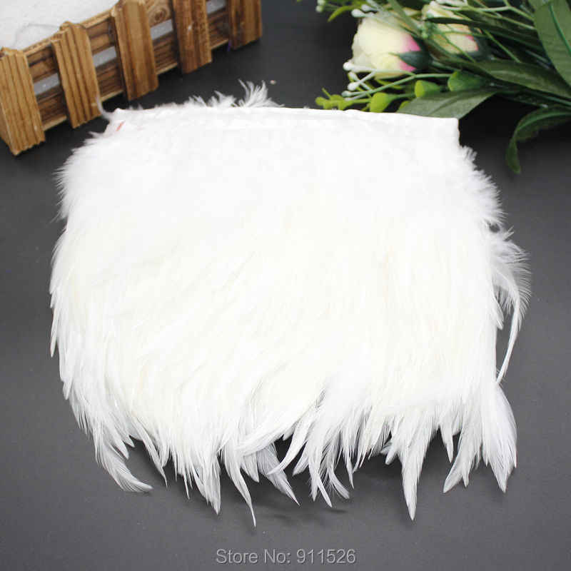 2 meters White Saddle feather trimming 10-15cm height  Rooster hackle feahter trims  ribbons Fringes