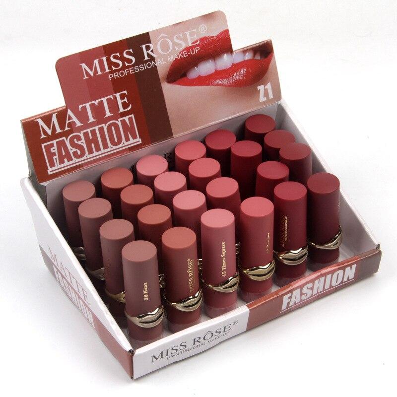 24PCS LOT Matte Lipstick Waterproof Makeup Lip Matte Lip Stick Cosmetics Sexy Red Lip Tint Nude