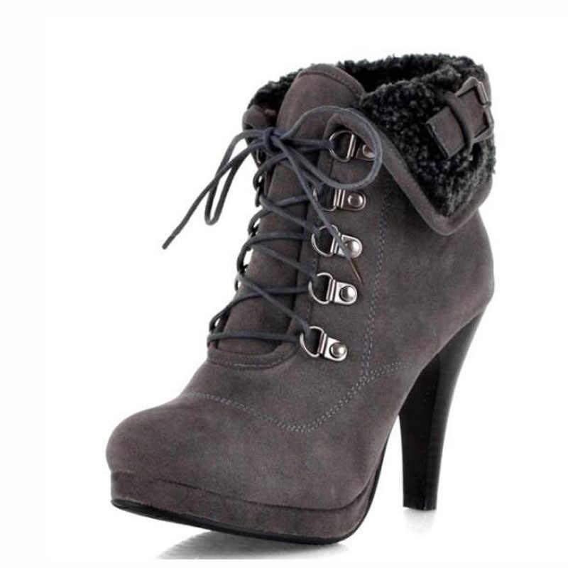 XingDeng bayan Martin ayakkabı Botas Femininas motosiklet botları artı boyutu 34-43 kış kadınlar için peluş yarım çizmeler akın yüksek topuklu