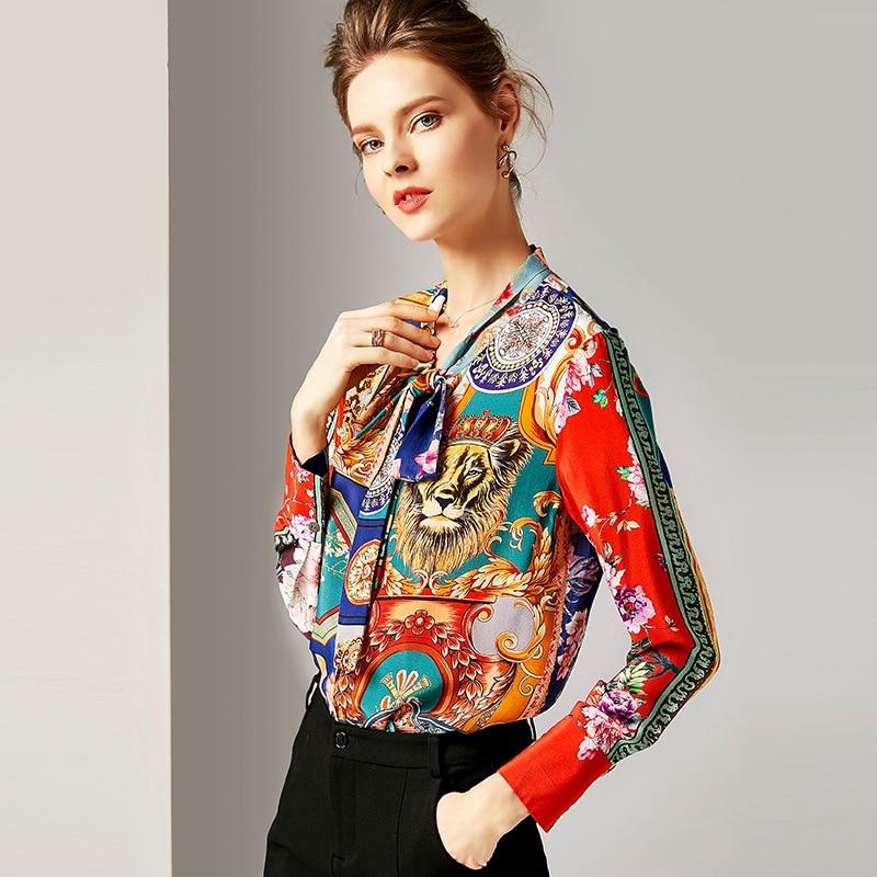 Bureau 100 Manches Soie Longues Imprimer Chemises Tops Haute Et Qualité Shirt Vintage Mûrier Arc Femmes Blouses Col Multi Lâche 5qSStZ8w