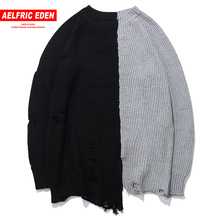 Aelfric Eden Vintage Color Block Patchwork Holes Men Sweaters 2018 Hip Hop Casual Pullover Knitted Male Sweater Streetwear KJ107